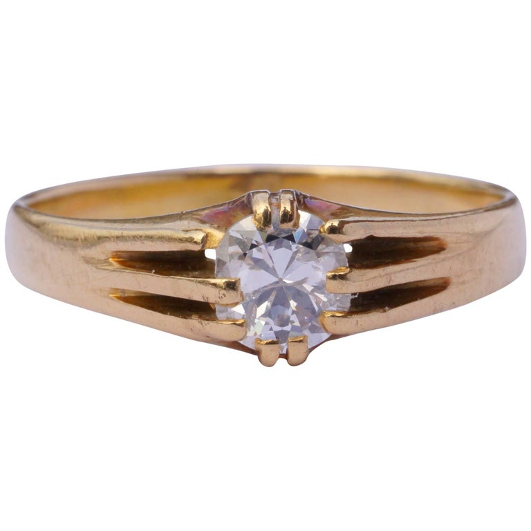 Diamond Rings For Sale Cheap: Antique Victorian 18ct Gold Diamond Solitaire Ring For