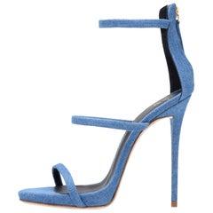 Giuseppe Zanotti Blue Jean Evening Cut Out Strappy Sandals Heels