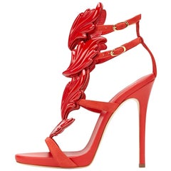 Giuseppe Zanotti New Red Suede Wing Evening Strappy Sandals Heels