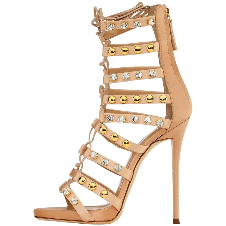Giuseppe Zanotti New Blush Suede Gold Jewel Evening Sandals Heels in Box