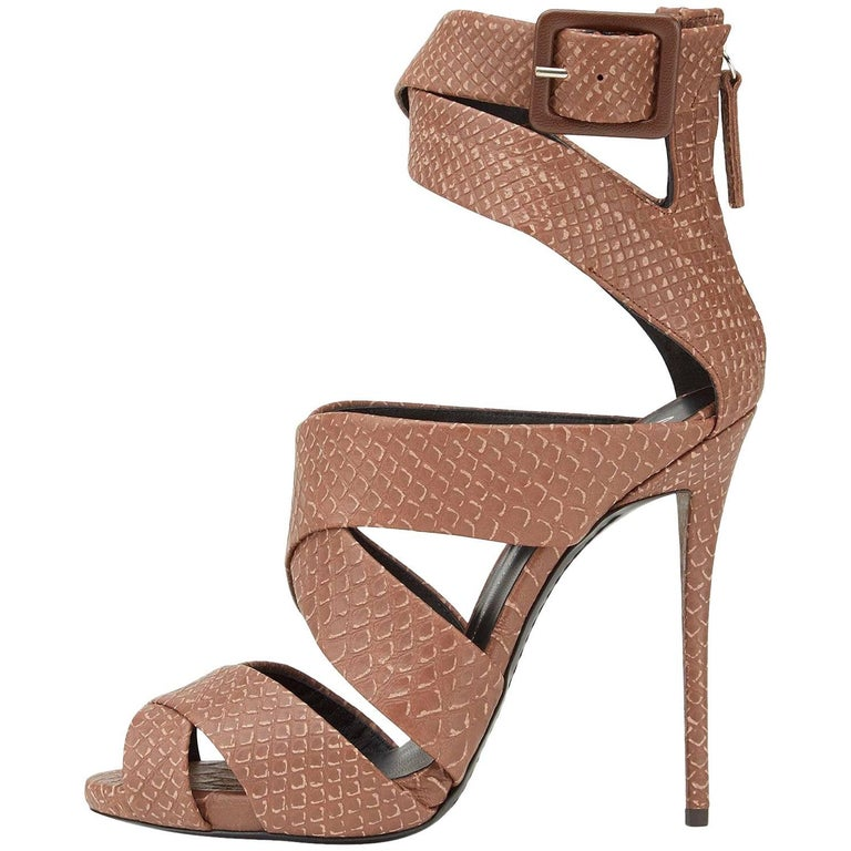 Giuseppe Zanotti New Python Embossed Leather Nude Cognac Strappy Heels