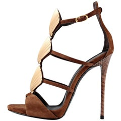 Giuseppe Zanotti Brown Suede Gold Shell Evening Sandals Heels