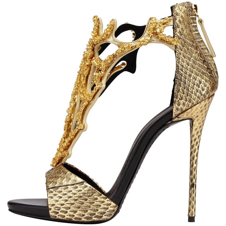 Giuseppe Zanotti New Leather Gold Coral Crystal Evening Sandals Heels
