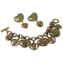 Patrizia Daliana Bronze Classical roman heads and hearts Parure