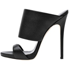 Giuseppe Zanotti New Black Leather Slide In Mules Evening Heels in Box