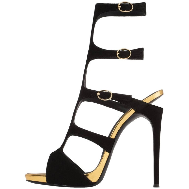 Giuseppe Zanotti New Black Suede Gold Evening Sandals Heels