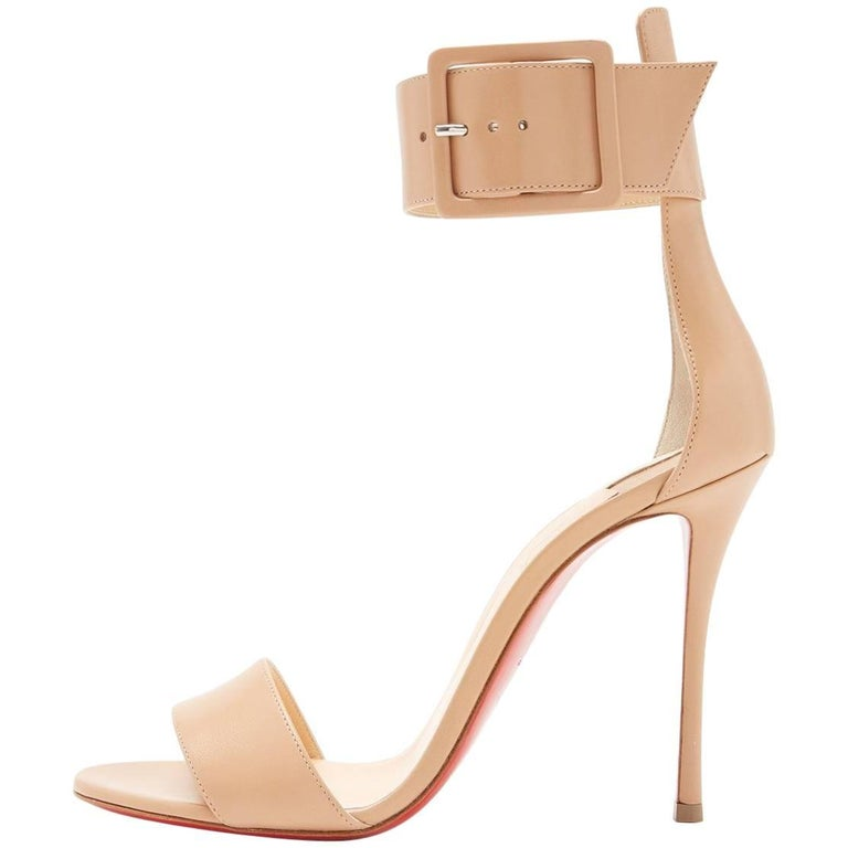 Christian Louboutin New Nude Leather Buckle Evening Sandals Heels