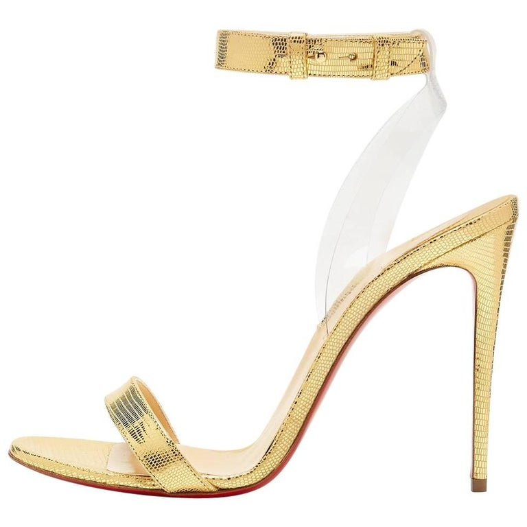 Christian Louboutin New Gold PVC Leather Ankle Evening Sandals Heels