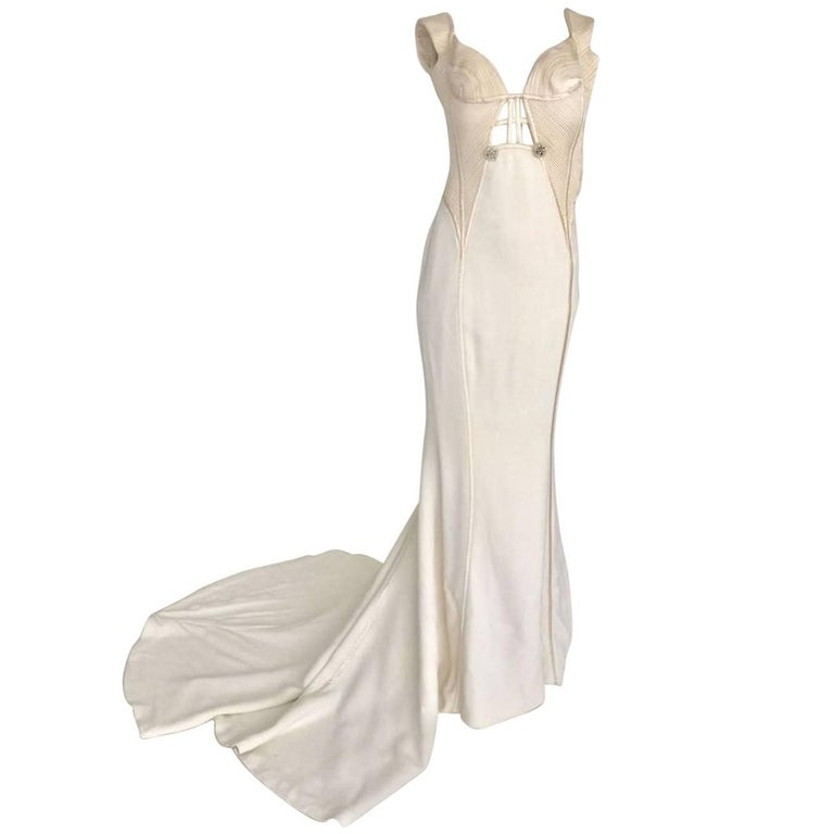1994 Atelier Versace Ivory Silk Evening Long Dress with Christal Diadems