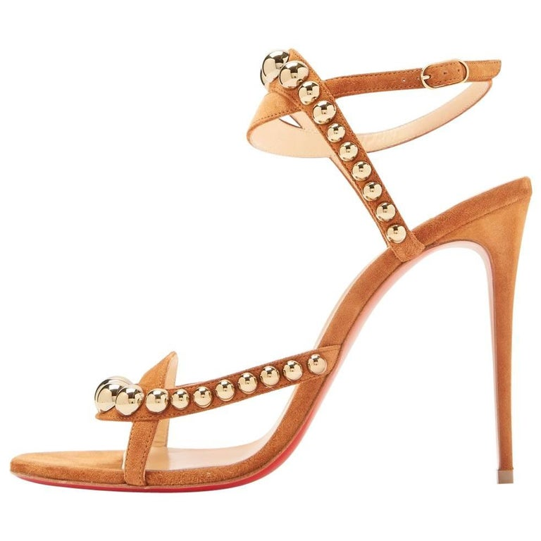 Christian Louboutin New Cognac Suede Gold Stud Evening Sandals Heels