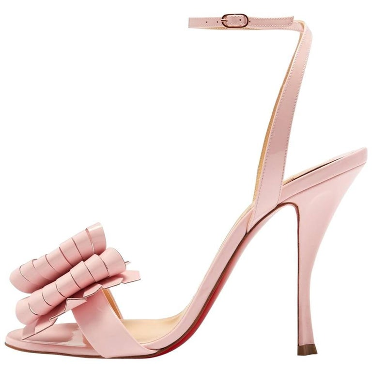5ba5bf1360ca Christian Louboutin New Pink Patent Bow Evening Sandals Heels For Sale