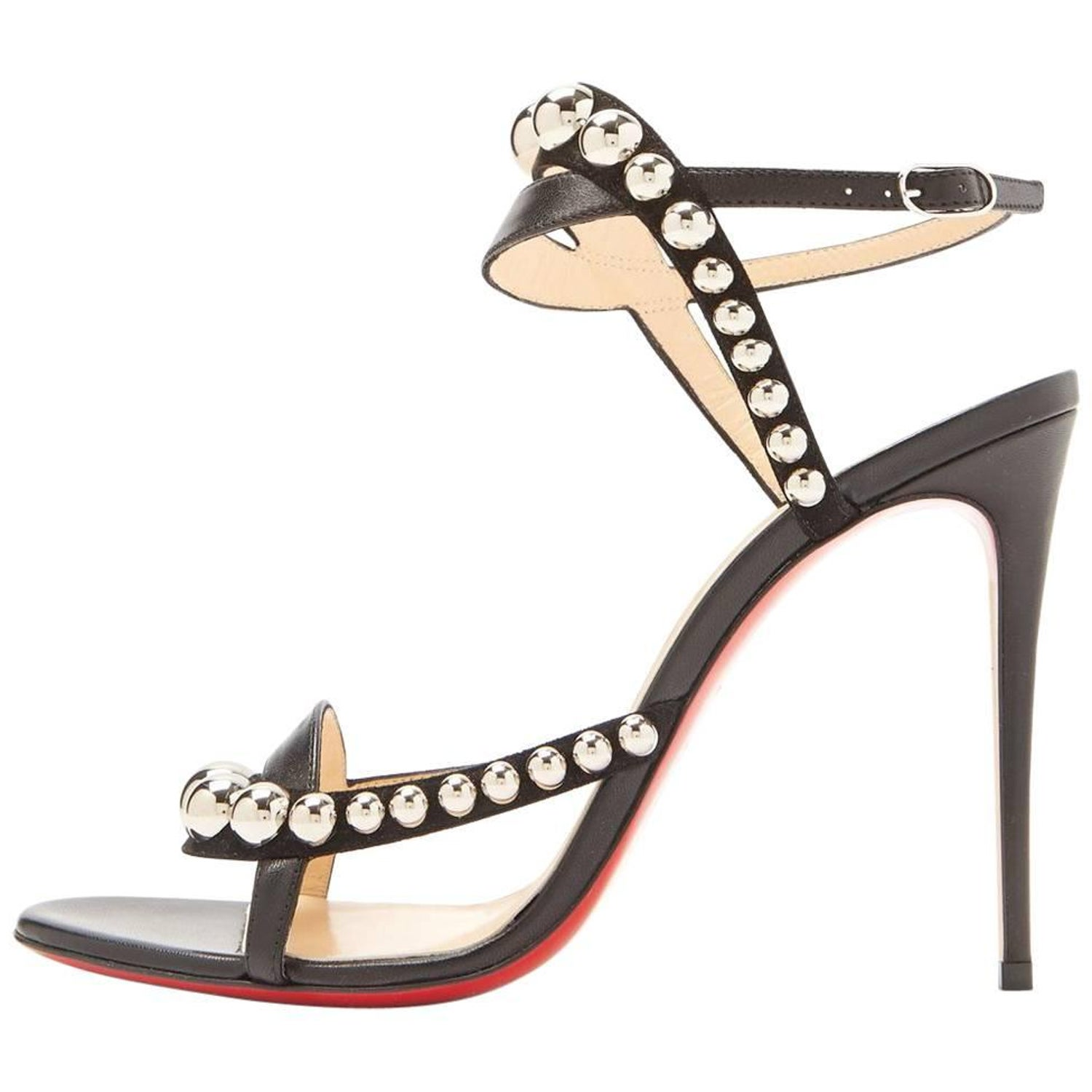 dc041dac87da Christian Louboutin Black Suede Silver Stud Evening Sandals Heels For Sale  at 1stdibs
