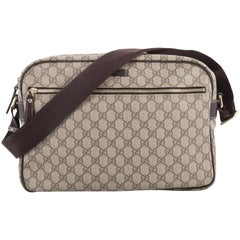 Gucci Front Zip Camera Bag GG Coated Canvas Large