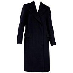 Dries van Noten Navy Blue Wool Coat