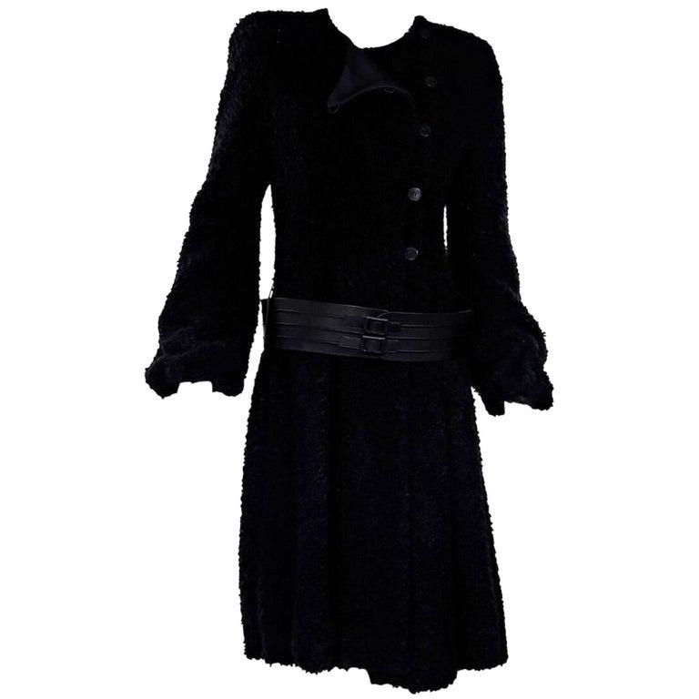 Giorgio Armani Black Textured Belted Coat