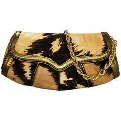 Roberto Cavalli Brown & Gold Satin Evening Clutch/Shoulder Bag
