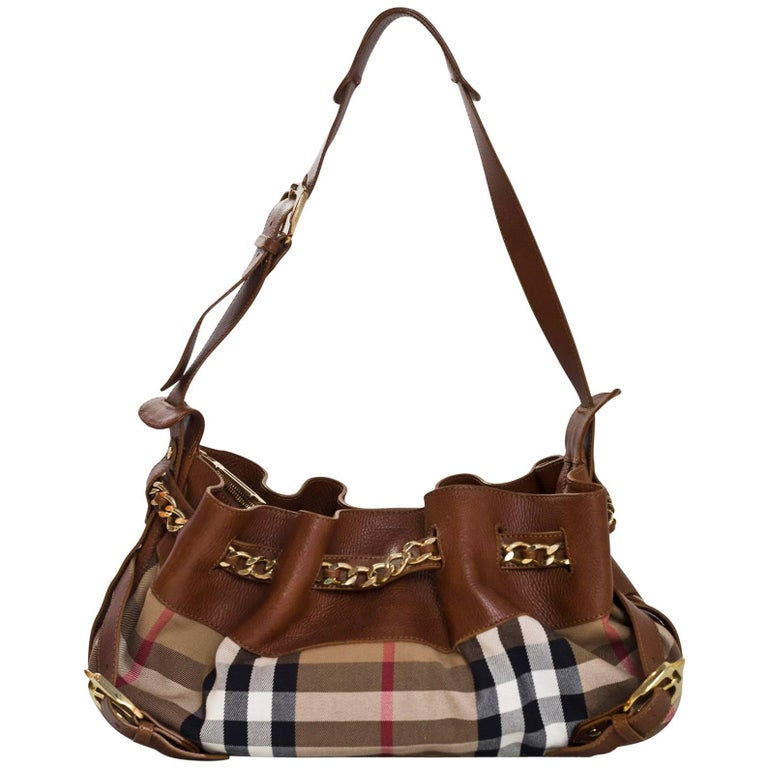 Burberry Margaret Nova Check Canvas and Tan Leather Bag at 1stdibs 6098b5e338e09
