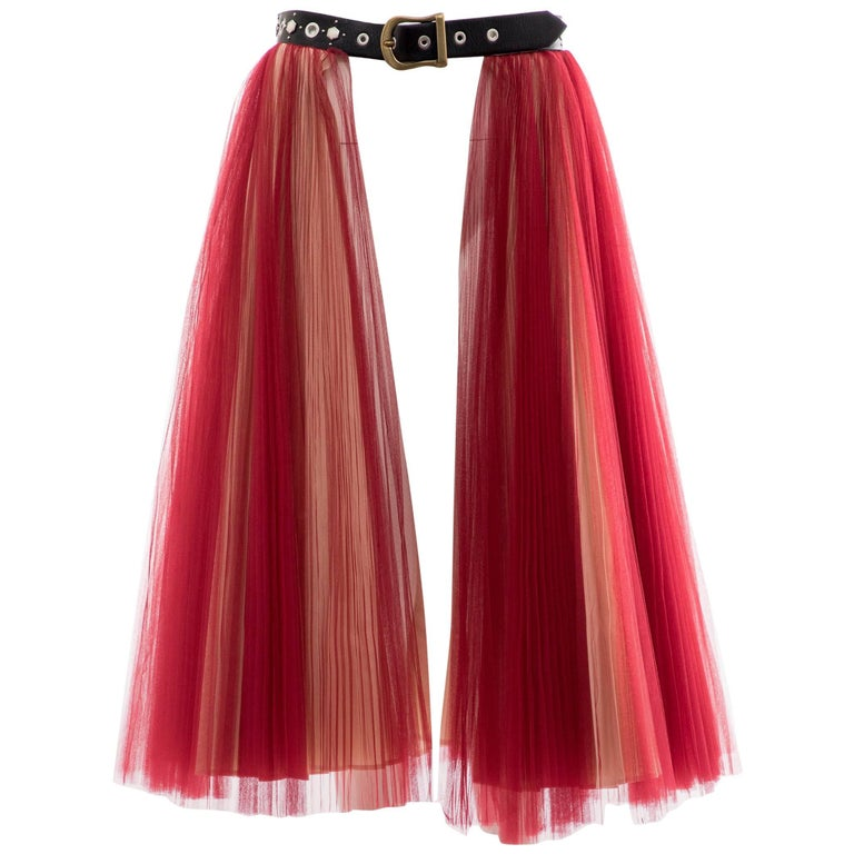Undercover - Jun Takahashi Red Tulle Silver Pleated Skirt, Spring 2016 For Sale