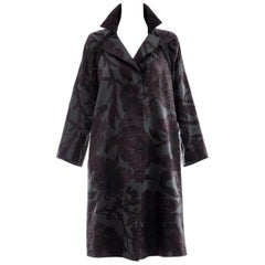 Dries Van Noten Silk LInen Floral Jacquard Button Front Coat