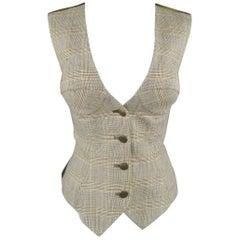 BYRON LARS Size 8 Beige & Olive Green Glenplaid Wool Bustier Vest
