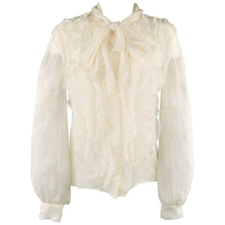 OSCAR DE LA RENTA Size 8 Cream Silk Chiffon Ruffle Tie Blouse