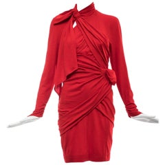 Thierry Mugler Red Wool Jersey Ruched Dress, Circa 1980's