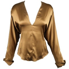 RALPH LAUREN Size 6 Copper Brown Silk Satin V Neck Dolman Sleeve Blouse