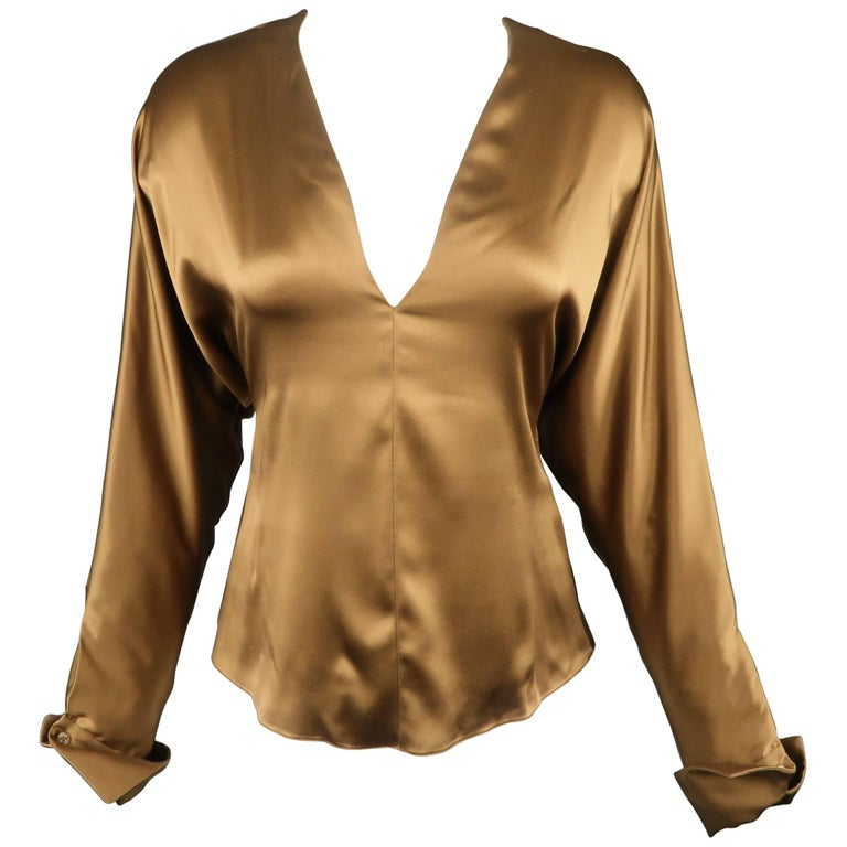 RALPH LAUREN Size 6 Copper Brown Silk Satin V Neck Dolman Sleeve Blouse