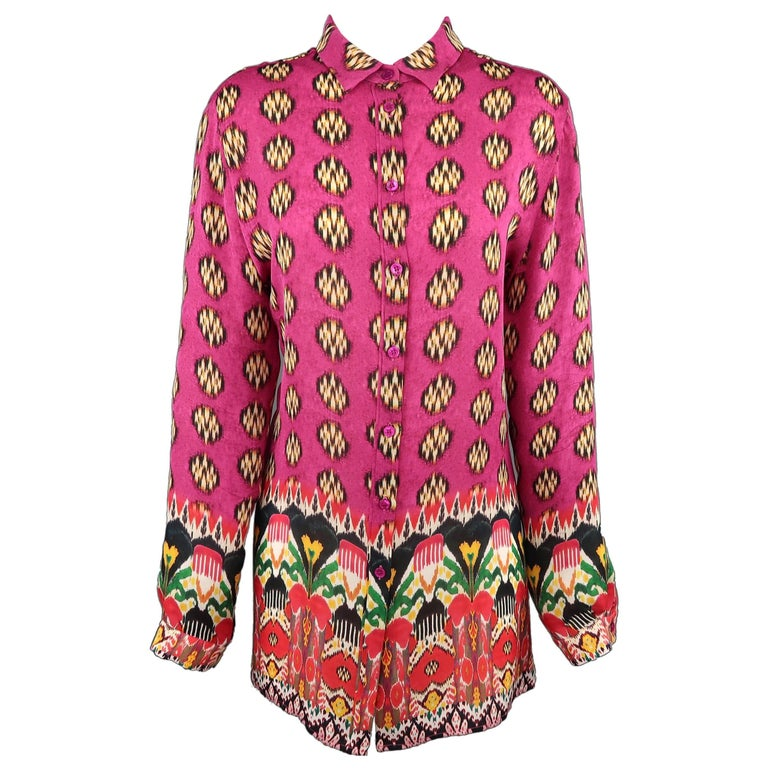 ETRO Size 14 Pink Multi Color Mixed Prints Silk Long Blouse