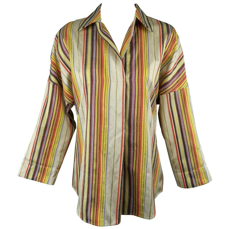 8cbf80cafc015 AKRIS Size M Rainbow Striped Textured Silk Collared Tunic Blouse For Sale