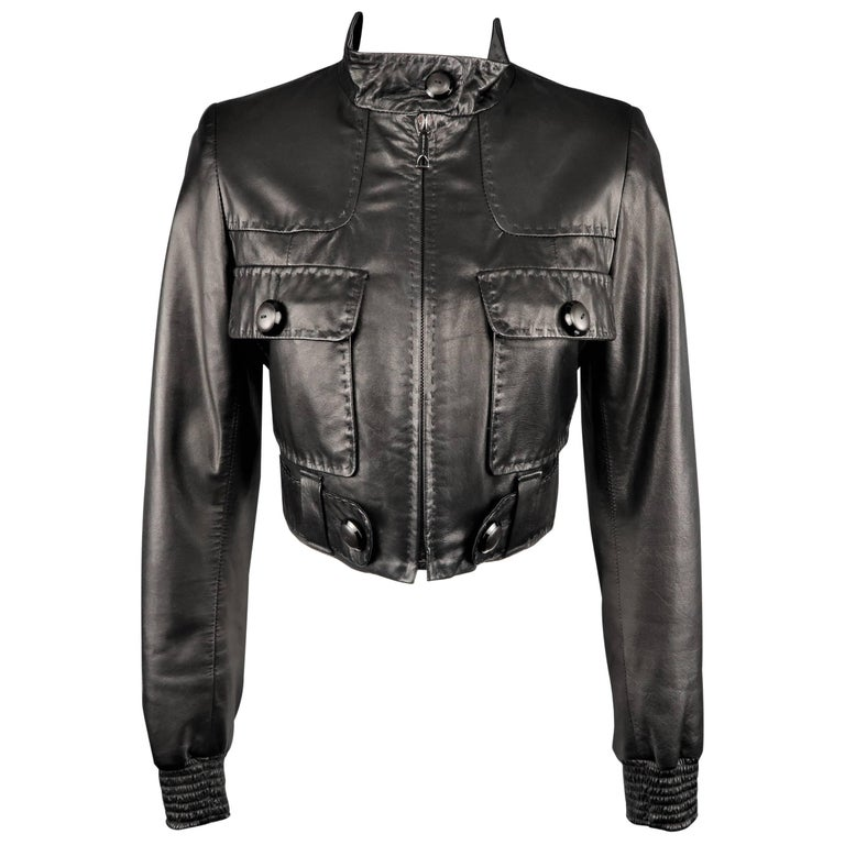 BARBARA BUI Size 4 Black Leather High Collar Cropped Jacket