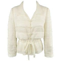Chanel Jacket - Cream Textured Silk Blend Drawstring Waist Coat