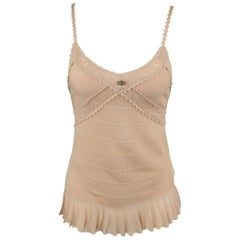 CHANEL Size 8 Pink Rayon Knit Pleated Camisole Dress Top