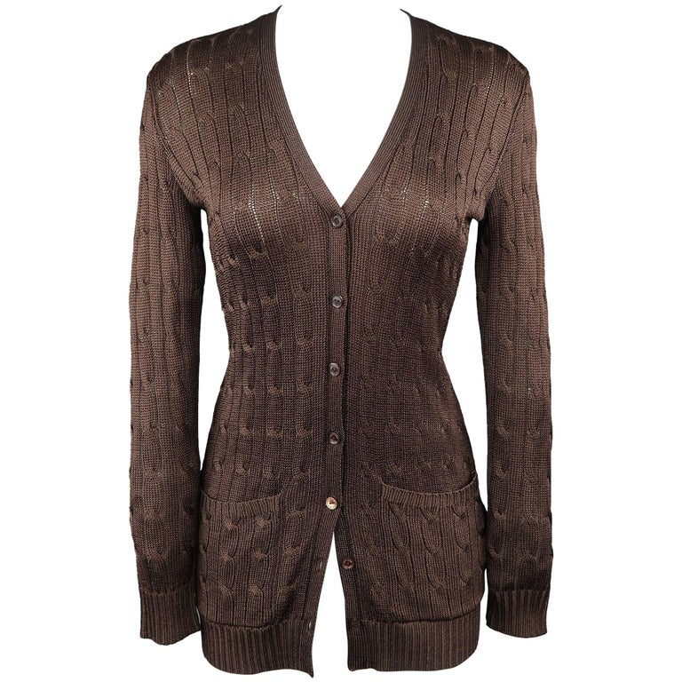 99ca0f73a33b21 RALPH LAUREN Size S Brown Silk Cable Knit Extended V Neck Cardigan For  Sale. RALPH LAUREN BLACK LABEL ...