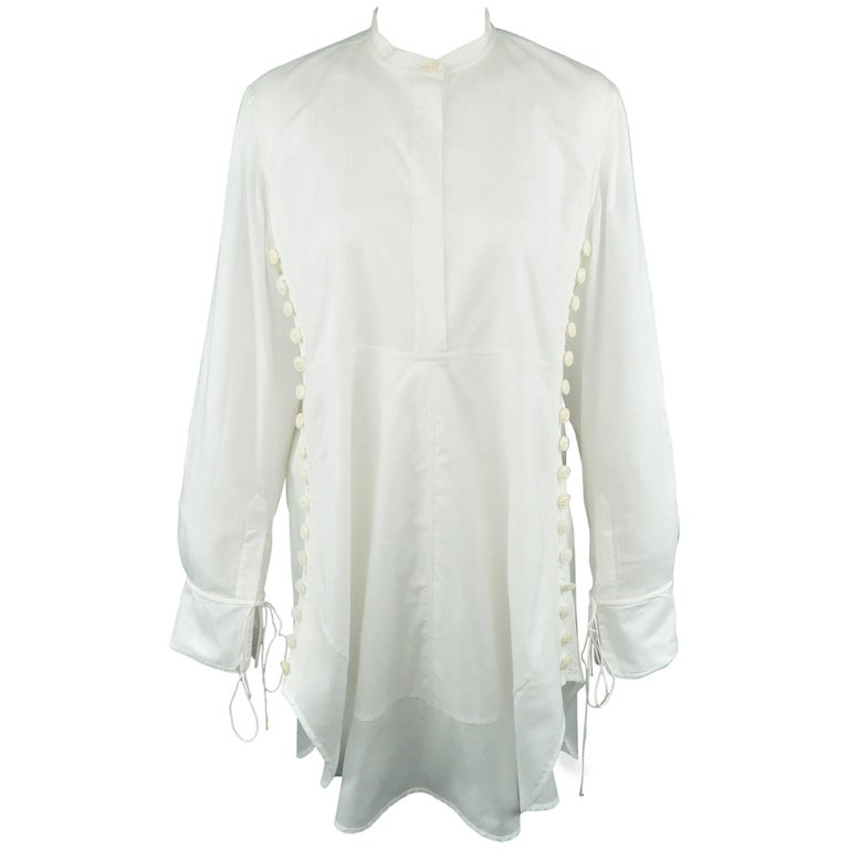 CHLOE Size 2 White Cotton Button Side Band Collar Tunic Blouse