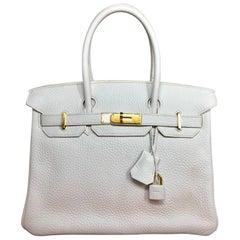 Hermes White Clemence 30 Birkin Bag