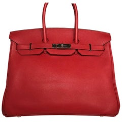 Hermes Red Birkin 35 Epsom Bag