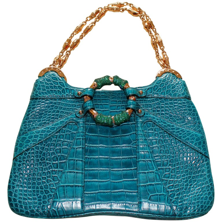 Gucci AquaTurquoise Exotic Crocodile Alligator Crystallized Bamboo Handbag Purse