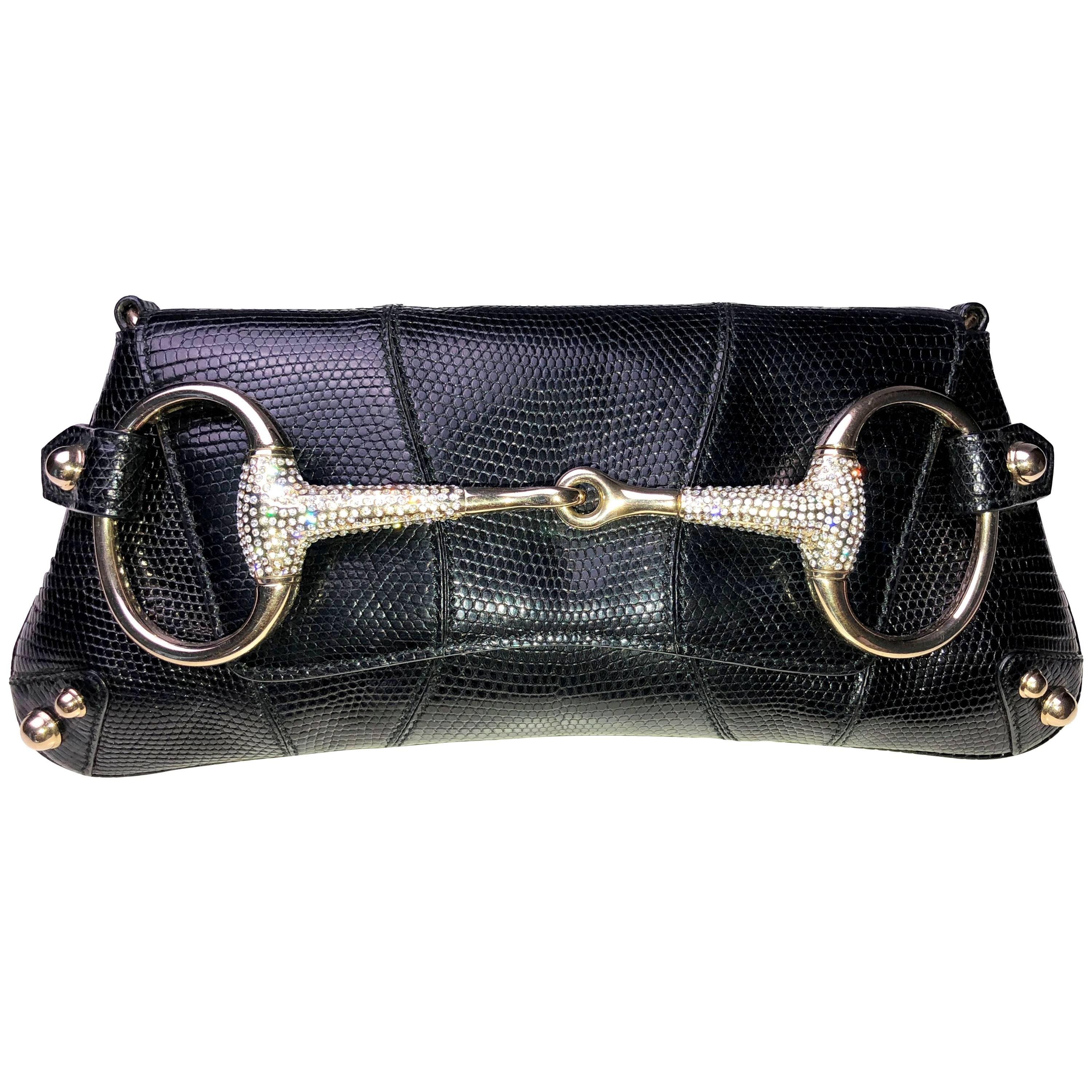 c39d7a96fa0a Amazing Exotic Black Gucci Lizard Skin Crystallized Horsebit Bamboo Clutch  Bag For Sale at 1stdibs