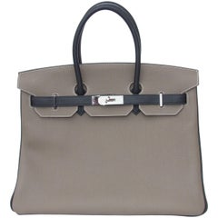 Hermès Horseshoe Etoupe Black Togo Leather PHW 35 cm, Birkin Handbag