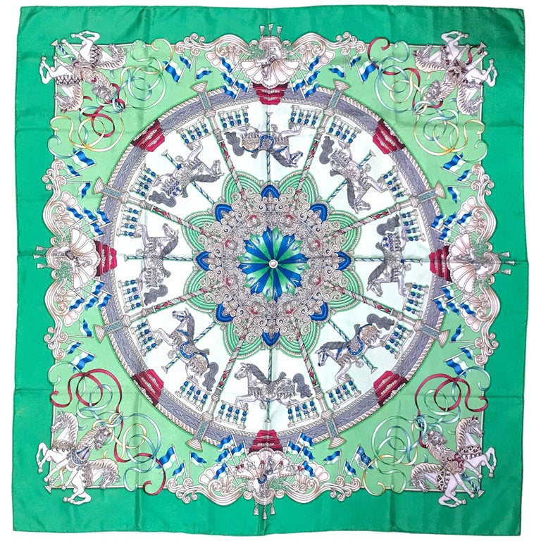 Vintage HERMES Carre silk scarf with horse, Carousel print in green. Luna Park.