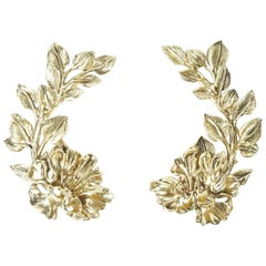 Roberto Cavalli Metallic Flower Cuff Earrings