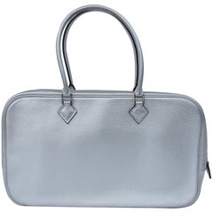 Hermès Limited Edition Metallic Silver Chevre Leather Plume Elan Bag PHW 28 cm