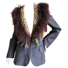 John Galliano Gray Wool Jacket with Festive Mongolian Lamb and Calf Fur Lapel