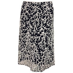 Notable Naeem Khan Black & White Beaded Silk Skirt