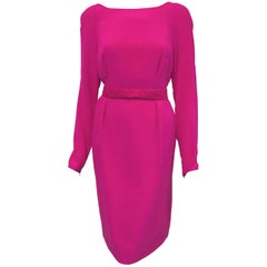 Victorious Versace Longsleeve Fuschia Silk Dress