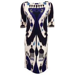 Gucci Blue, White and Black Ikat Tribal Print Silk Dress 42 EU