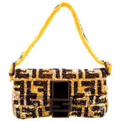 Piece Unique - Fendi FF Logo Sequin Baguette Handbag with Fur Trimming