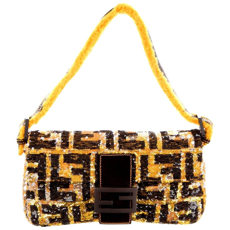 666de9b770 Piece Unique - Fendi FF Logo Sequin Baguette Handbag with Fur Trimming For  Sale at 1stdibs