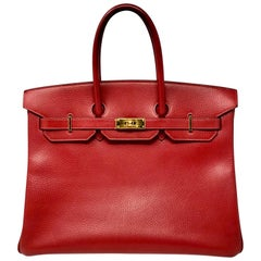 Hermes Red Birkin 35 Bag